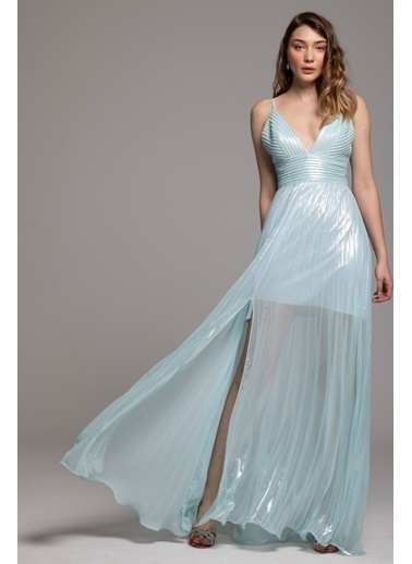 Tuba Ergin Nervür Detaylı Piliseli Maxi Ava Elbise Mavi